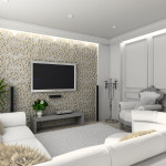 living-room with the classic furniture. 3D render. Interior with TV set.